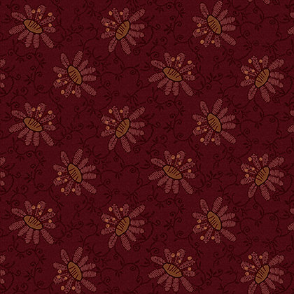 Henry Glass Scrap Happy Lacey Design - Red