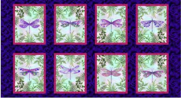 Henry Glass Dragonfly Blocks Panel - 24 inch