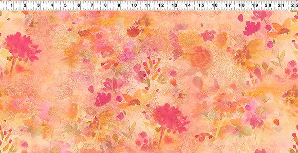 Clothworks Good Vibes Digital Floral - Raspberry
