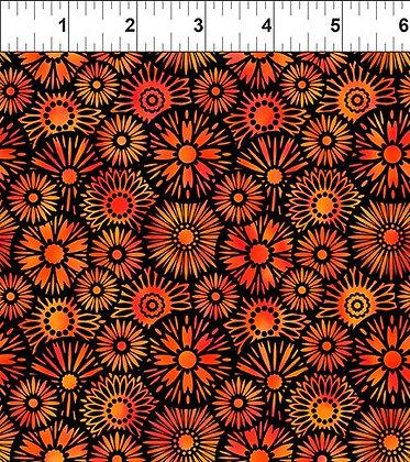 In The Beginning Orange Black Blooms