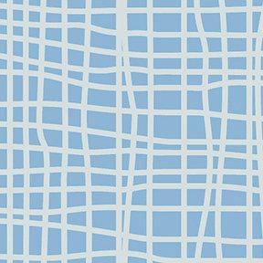Clothworks Blue Goose Grid - Light Blue