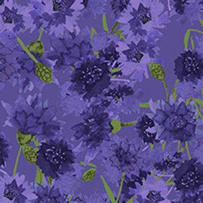 Clothworks Sunny Fields Bachelor Buttons - Purple