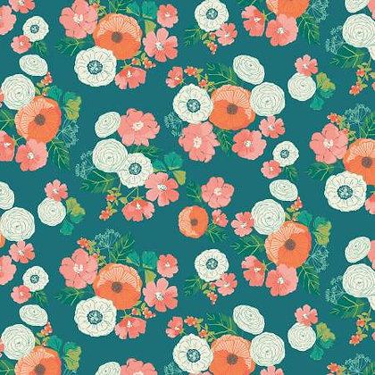Riley Blake Midsummer Meadows Wild Bouquet - Teal