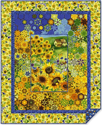 Clothworks Sunny Fields Hexified Panel Quilt Kit - with Ruler