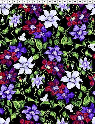 Clothworks Trellis Clematis Vine - Black