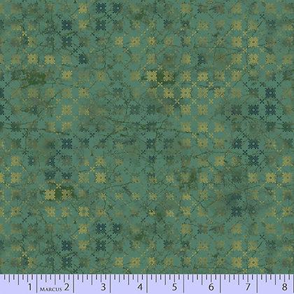Marcus Fabrics Las Flores Geo Flowers - Green
