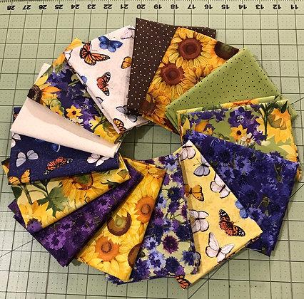 Clothworks Sunny Fields 14 piece FQ Bundle with Panel