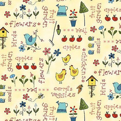 Henry Glass Backyard Happenings Words - Cream