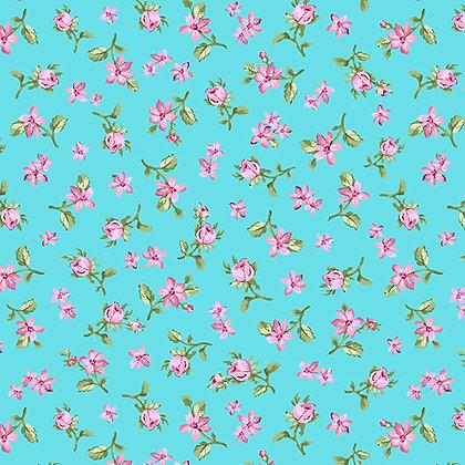 Benartex  Rose Whispers Rose Meadow - Aqua