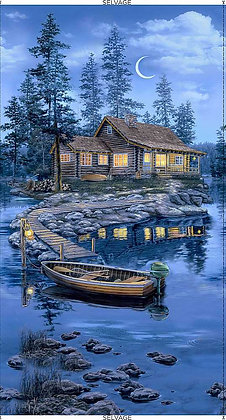 Timeless Treasures Lakeside Lodge Cabin Panel -24 inches