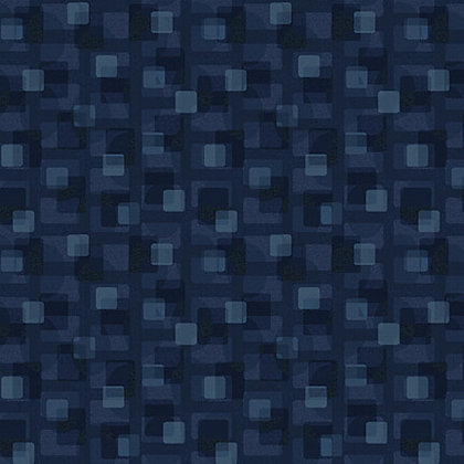 Henry Glass Scrap Happy Square  Textile - Navy