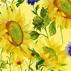 Clothworks Sunny Fields Mixed Floral - Yellow