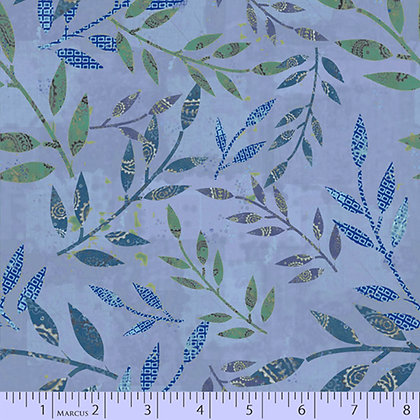 Marcus Fabrics Las Flores Leaves - Light Blue