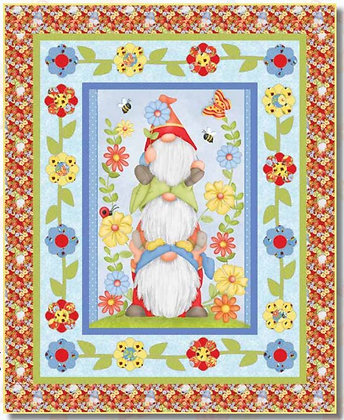 Henry Glass Gnome is Where Your Garden Grows Free Panel Quilt Pattern