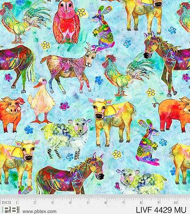 P&B Textiles Living Farm Allover Animals - Multi
