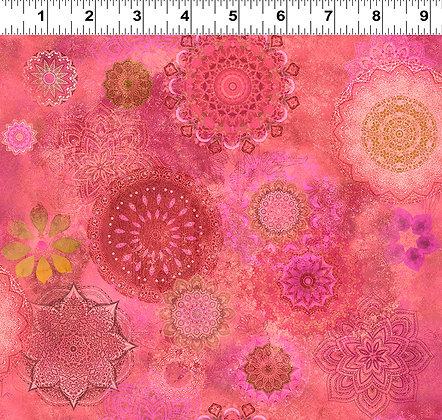 Clothworks Good Vibes Digital Medallions - Raspberry