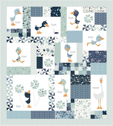 Clothworks Blue Goose Duck Duck Goose BOM Quilt Kit - Block One