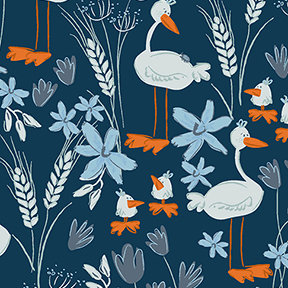 Clothworks Blue Goose Geese - Navy Blue