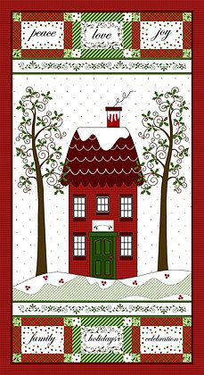 Henry Glass Holly Hill Christmas Panel - Red