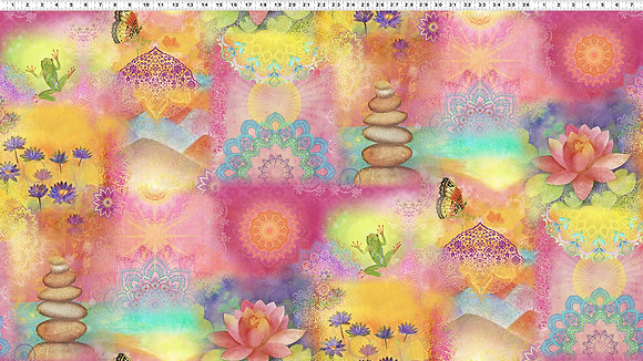 Clothworks Good Vibes Digital Sunrise Collage - Multi