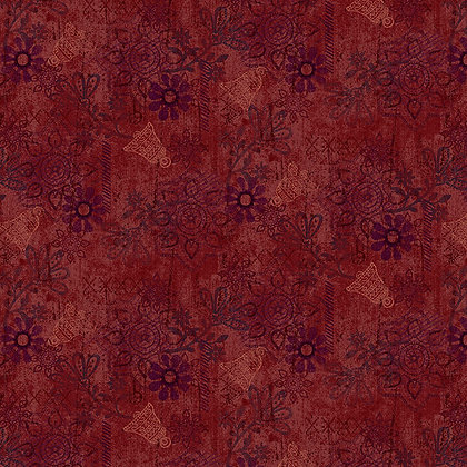 Henry Glass Scrap Happy Mixed Media Solid - Red