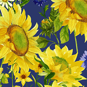 Clothworks Sunny Fields Mixed Floral - Royal Blue