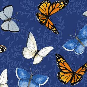 Clothworks Sunny Fields Butterflies - Royal Blue