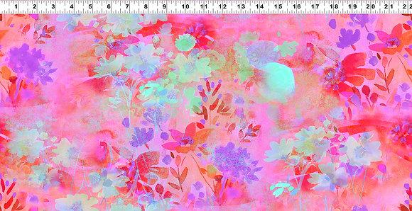 Clothworks Good Vibes Digital Floral - Coral