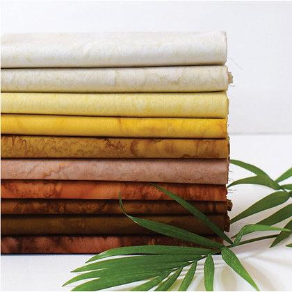 Anthology Lava 10 piece Batik Fat Quarter Bundle - Golden Brown
