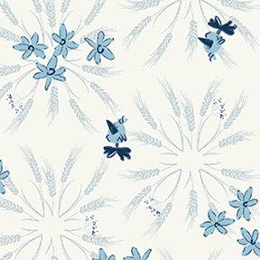 Clothworks Blue Goose Wheat - White