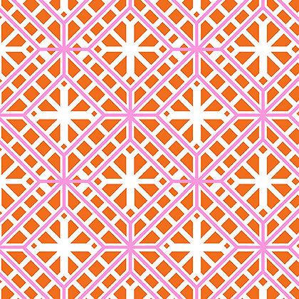 Kanvas Studio Fruit Punch Geo Trellis - Orange/White