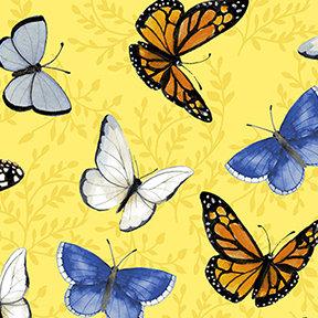 Clothworks Sunny Fields Butterflies - Yellow