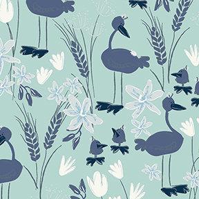 Clothworks Blue Goose Geese - Teal