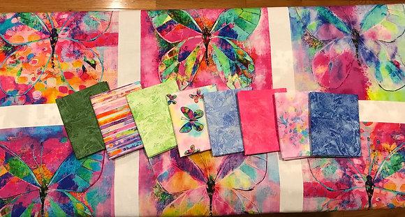 P&B Textiles Butterfly Dreams 8 Piece Fat Quarter Bundle with Panel - Blue