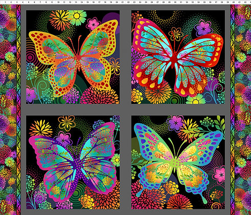 In The Beginning Butterfly Panel - Black