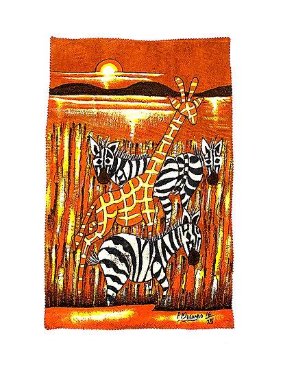 Zebras and Giraffe