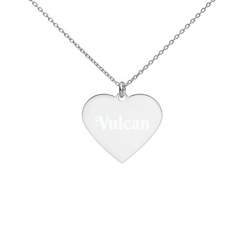 Vulcan - Engraved Silver Heart Necklace