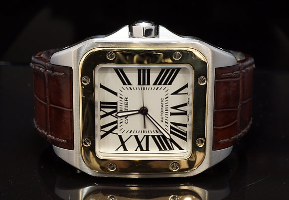 CARTIER 2013 Santos 100XL, Steel & Gold, W20072X7, Box & Papers