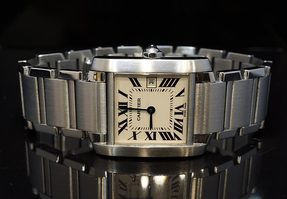 CARTIER 2002 Tank Francaise, Mid Size, W51011Q3, MINT, Box & Papers