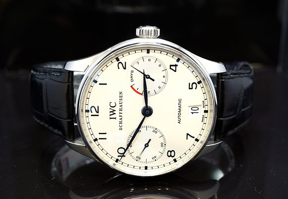 IWC Portuguese 7 Day Power Reserve IW500107, Box & IWC Certificate of Authenticy