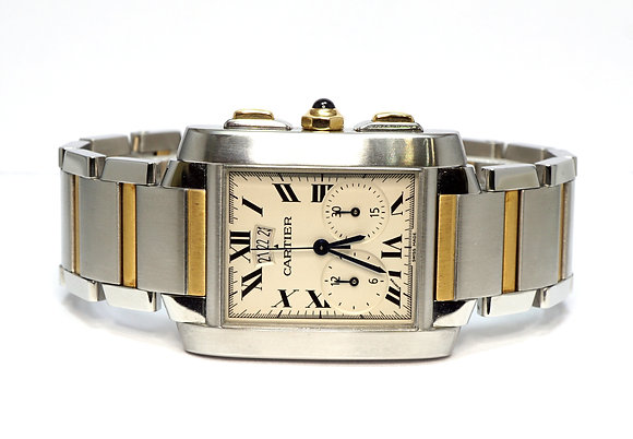 CARTIER 2007 Tank Francaise Chronoflex, 2653, Steel & Gold, Box & Papers