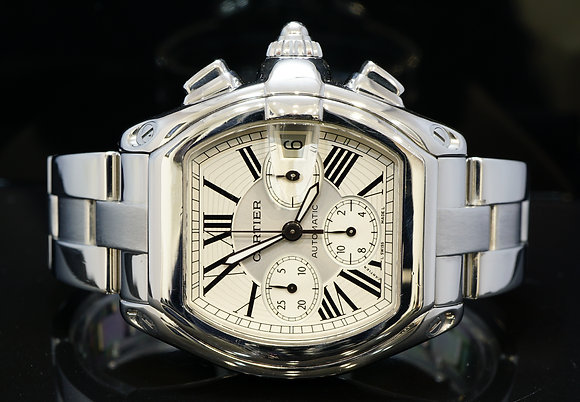 CARTIER 2013 Roadster Chrono XL, W62019X6, Box& Papers, Plus Strap