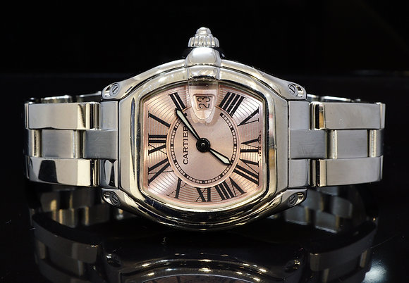 CARTIER 2005 Ladies Roadster, Steel, Extra Strap , W62017V3, MINT, Box & Papers