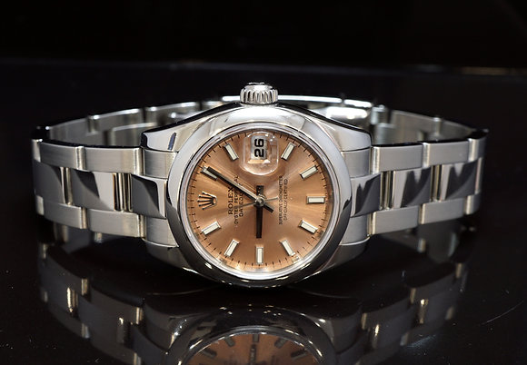 ROLEX 2005 Datejust 26mm, Steel, Copper Pink Dial, 179160, Boxed