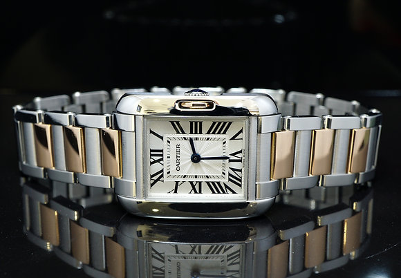 CARTIER 2012, Tank Anglaise, Steel & Rose Gold, MINT, W5310036, Box & Papers