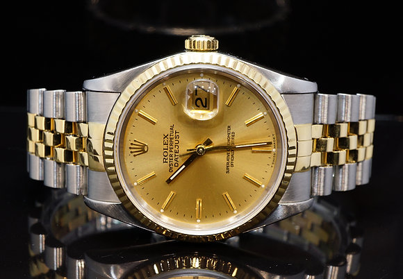ROLEX 1991 36mm Datejust, Steel & Gold, 16233, Champagne Baton Dial