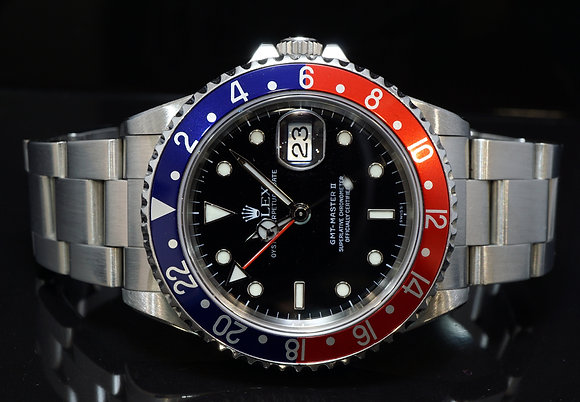 """ROLEX 1999 GMT Master II, """"Pepsi"""" 16710BLRO, Serviced by Rolex 08/18, Boxed"""