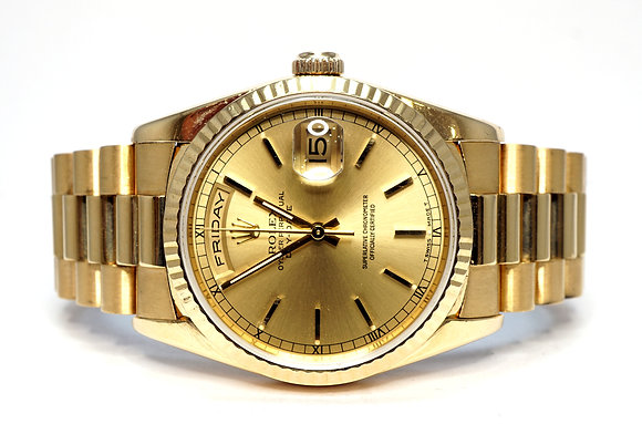 ROLEX 1995 Day-Date 36, 18238, 18ct Yellow Gold, Box & Papers, Just Serviced