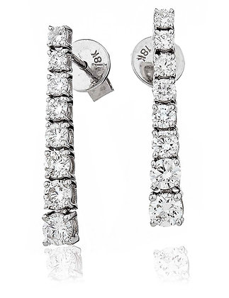 18ct White Gold 8 Diamond Drop Earrings