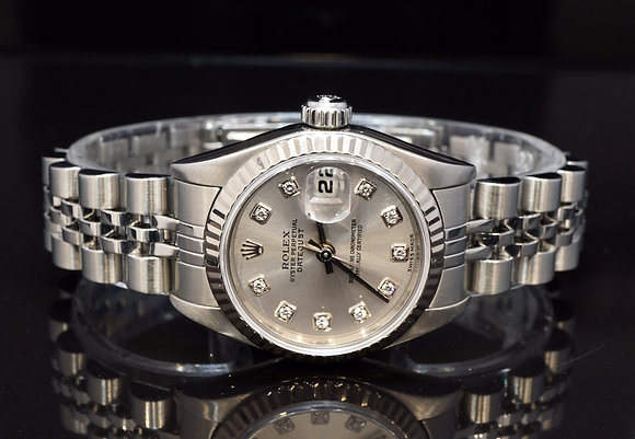 ROLEX 2004 26mm Datejust, Silver Diamond Dot Dial, 79174, Boxed